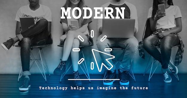 Concepto de innovación trending tecnología moderna Foto gratis