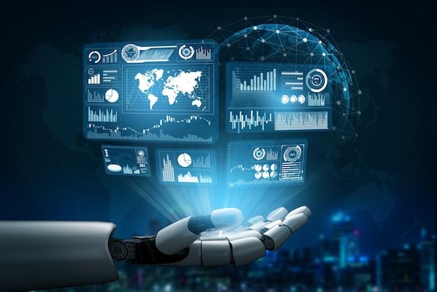 Concepto de inteligencia artificial robot futurista. Foto Premium