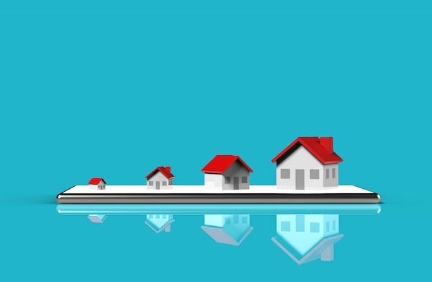 Concepto en línea de bienes raíces de crecimiento. grupo de la casa en el teléfono móvil. ilustración 3d Foto Premium