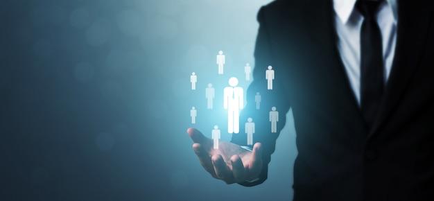 Concepto de negocio de recursos humanos, gestión del talento y reclutamiento Foto Premium