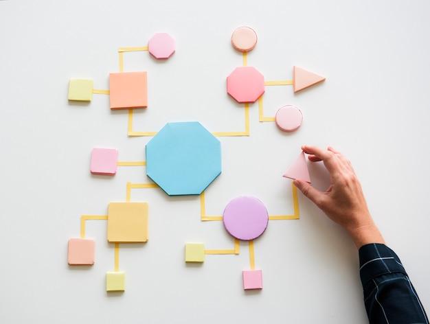 Concepto de proceso de negocio formas de papel Foto Premium