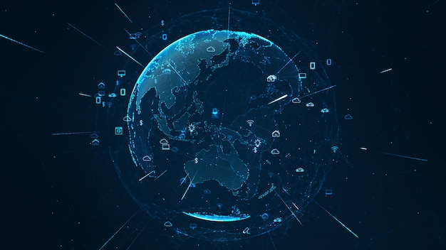 Concepto de red global. iot (internet de las cosas). Foto Premium