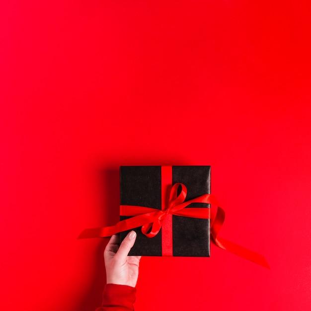 Concepto de regalo flat lay Foto gratis