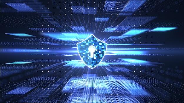 Concepto de seguridad cibernética. escudo con el icono del ojo de la cerradura en la cadena de bloques abstracta big data digital Foto Premium