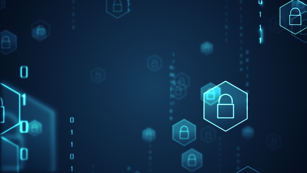 Concepto de seguridad cibernética. escudo con el icono de ojo de cerradura en el fondo de datos digitales. Foto Premium