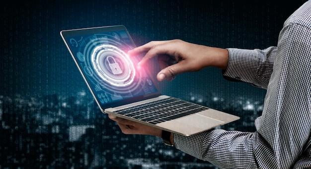 Concepto de seguridad cibernética y protección de datos digitales Foto Premium
