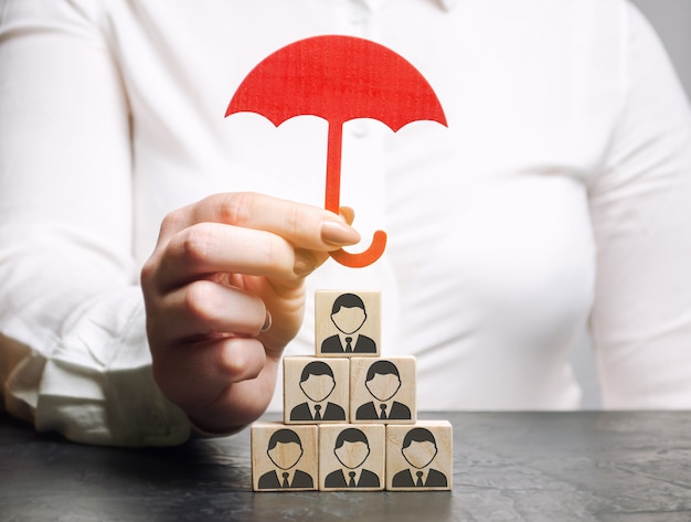 Concepto de seguro de equipo. atención al empleado. Foto Premium