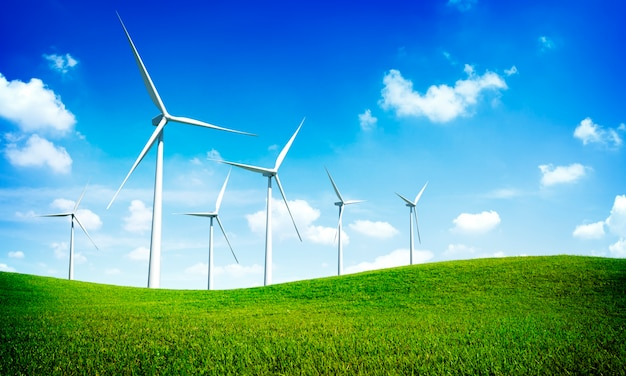 Concepto de tecnología de electricidad de energía verde turbina Foto gratis