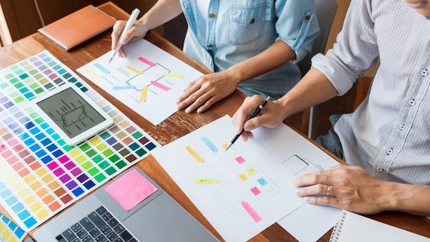 Concepto de tecnología de negocios, diseñador de equipo creativo que elige muestras con ui / ux que se desarrolla en el diseño de diseño de boceto en la aplicación de teléfono inteligente para la tabla de diseño de interfaz de usuario móvil. Foto Premium