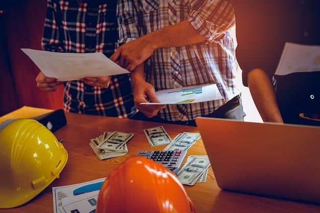 Conceptos de negocio, planificación de negocios y trabajo en equipo con espacio de copia. Foto Premium