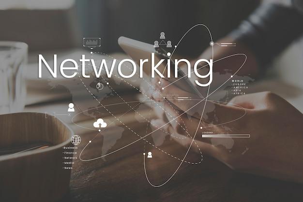 Conexión de comunicación en línea de la red global Foto gratis