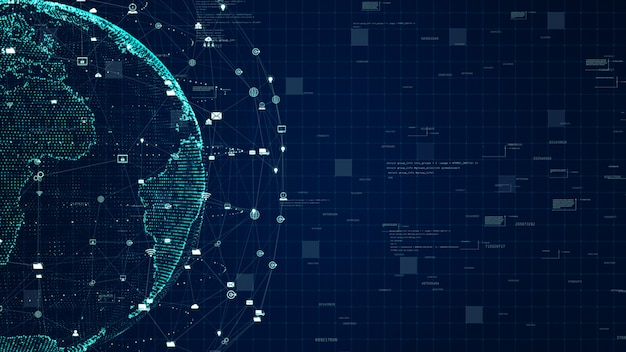 Conexión de datos de red de tecnología, red de datos digitales y concepto de seguridad cibernética. elemento tierra provisto por la nasa. Foto Premium