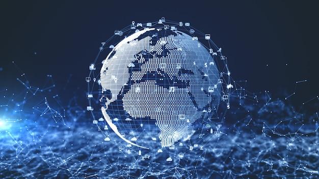Conexión de datos de red de tecnología, red digital y concepto de seguridad cibernética. elemento tierra provisto por la nasa. Foto Premium
