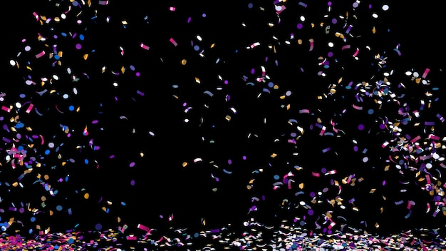Confeti de colores sobre un fondo negro Foto Premium