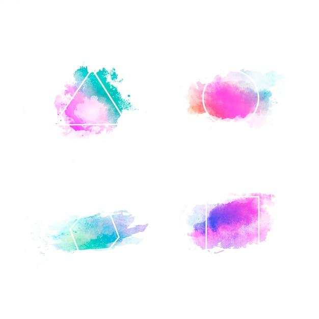 Conjunto de círculo pintado a mano de acuarela colorido aislado en blanco con figuras geométricas Foto gratis