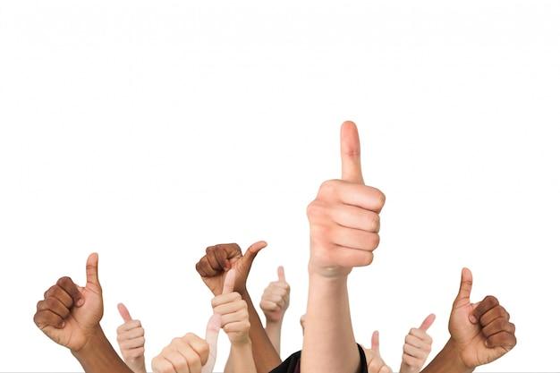 Conjunto de manos con el pulgar hacia arriba Foto gratis