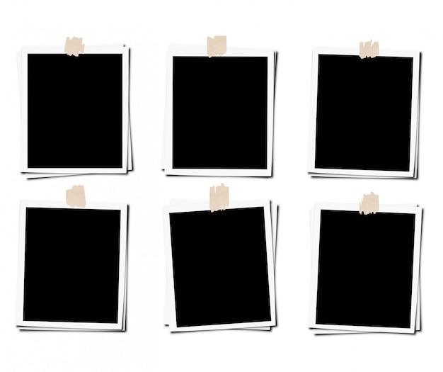 Conjunto de marco de fotos con cinta, aislado Foto Premium