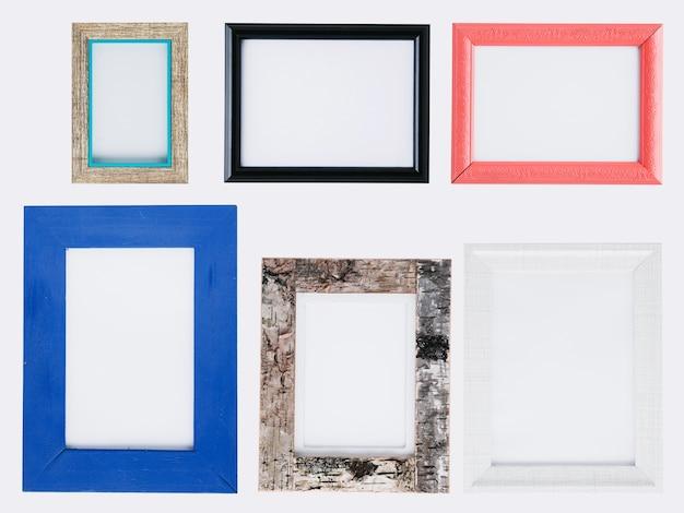 Conjunto plano endecha de coloridos marcos minimalistas. Foto gratis