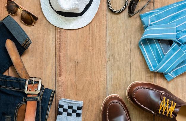 Conjunto de ropa y accesorios de hombre de moda Foto Premium