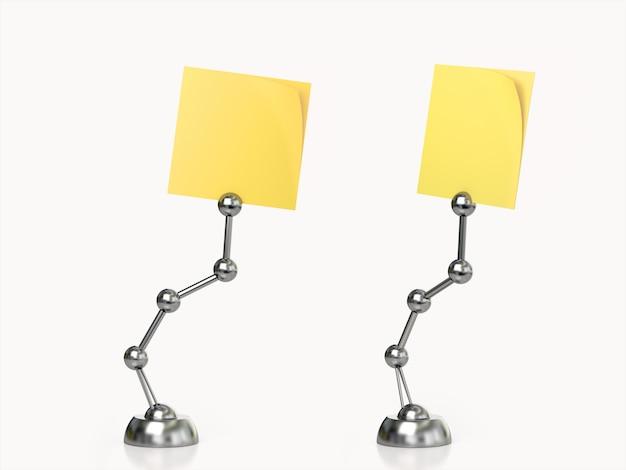 Conjunto de soporte post it amarillo. representación 3d Foto Premium