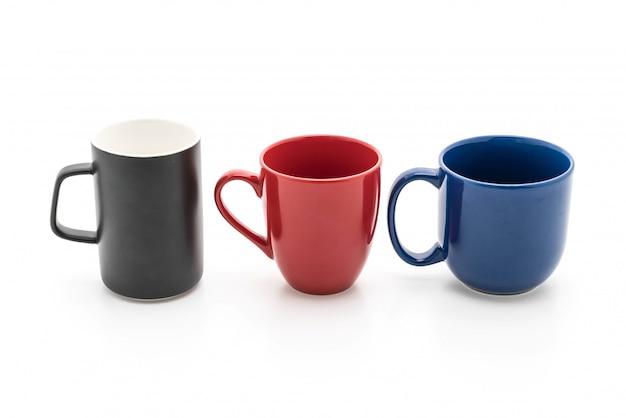 Conjunto de tazas negras, rojas y azules en blanco Foto Premium