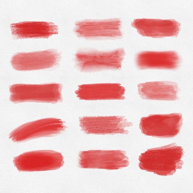 Conjunto de trazos de pincel rojo Foto gratis