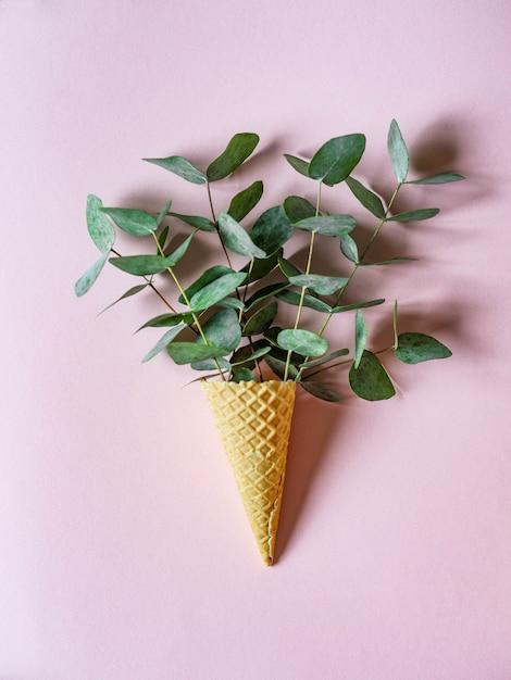 Cono de helado de gofres con ramitas de eucalipto verde Foto Premium