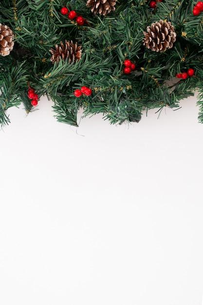 Conos de pino apilados y ramas de árboles Foto gratis