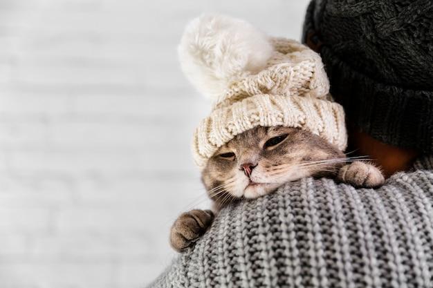 Copia-espacio lindo gato con gorra de piel en invierno Foto gratis