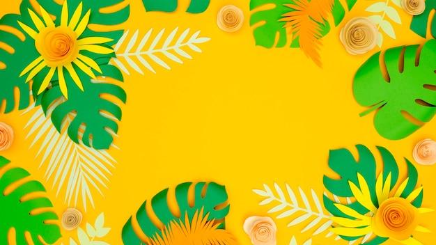 Copia espacio de papel hojas y flores Foto Premium