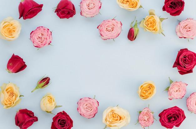 Copie el espacio rodeado de rosas coloridas Foto gratis