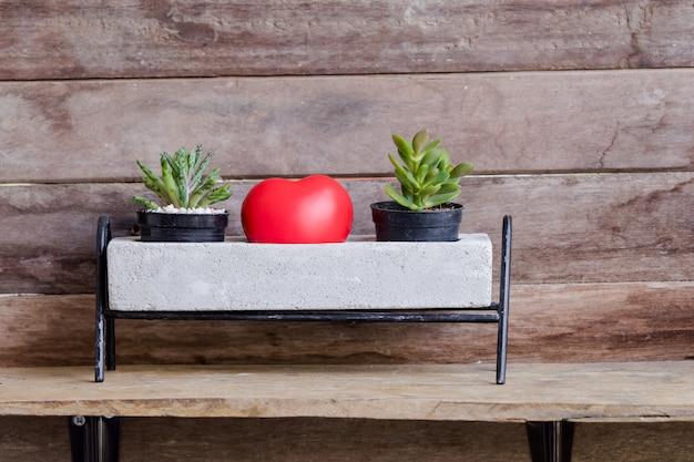 Corazón rojo de san valentín decorado con macetas de cactus sobre fondo rústico de madera Foto Premium