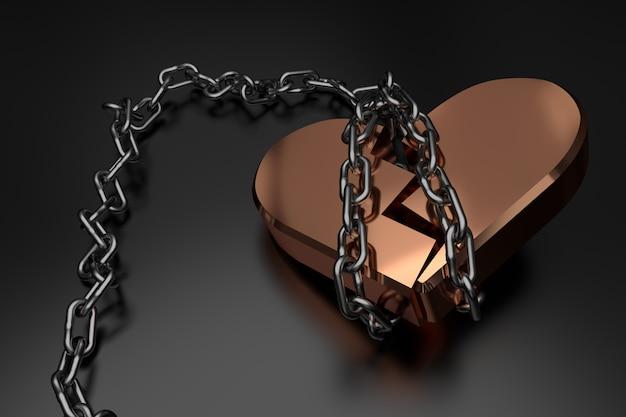 Corazón roto. representación 3d Foto Premium