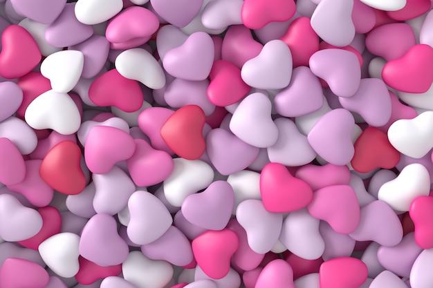 Corazones de color rosa de fondo. representación 3d Foto Premium