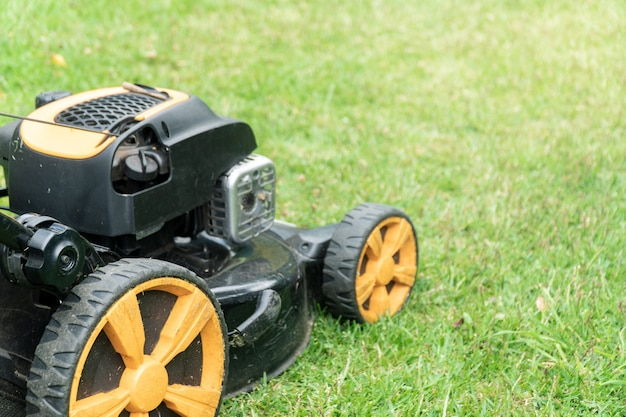 Cortadora de césped en pasto verde Foto Premium