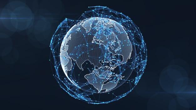 Creciente concepto global de conexiones de datos y redes Foto Premium