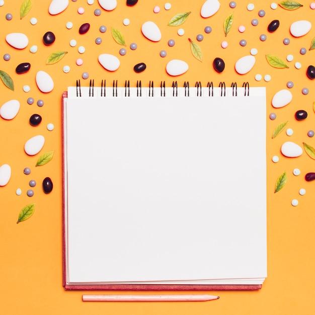 Cuaderno de cuadros rodeado de grageas y hojas. Foto gratis