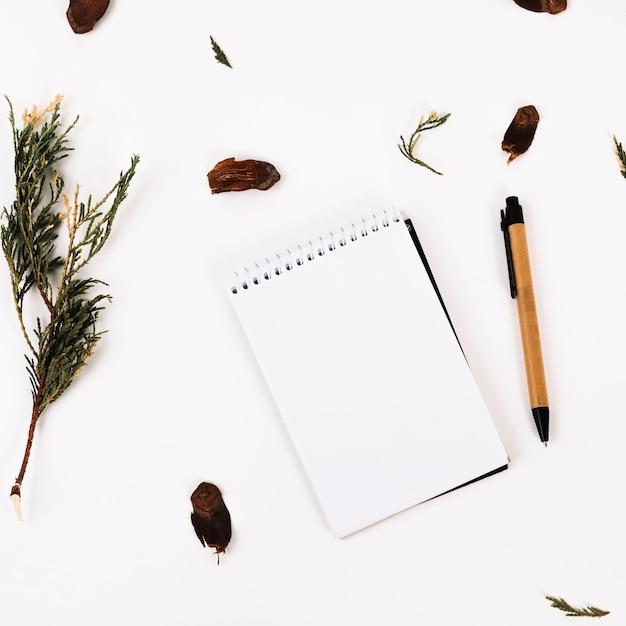 Cuaderno entre pluma y ramita Foto gratis