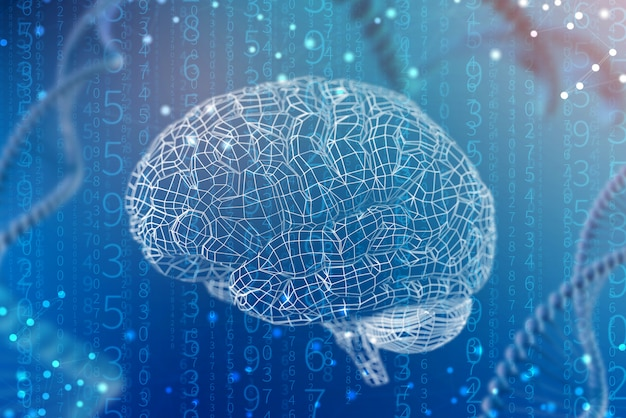 Cuadrícula de la ilustración 3d del cerebro digital. la inteligencia artificial y las posibilidades ilimitadas de la mente. Foto Premium