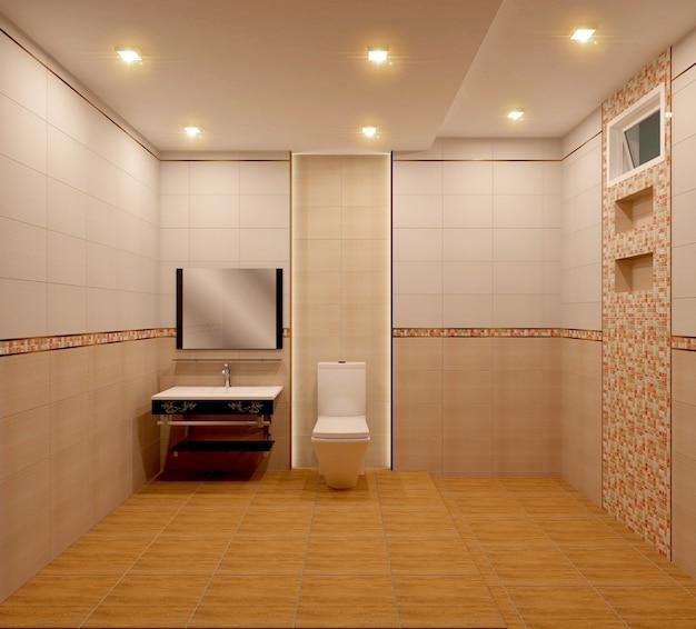 Cuarto de baño diseño de azulejos de color naranja y diseño de ...