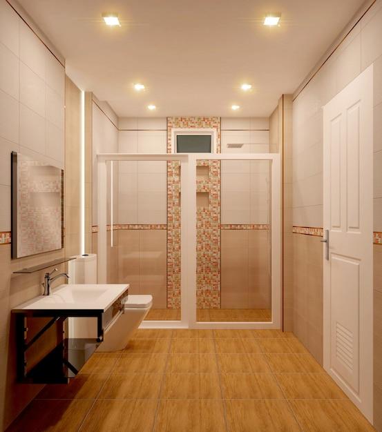 Cuarto de baño diseño de azulejos de color naranja y diseño ...