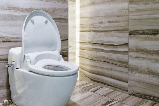 Cuarto de baño de diseño moderno blanco sanitario o inodoro en el ...