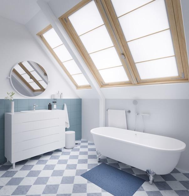 Cuarto de baño moderno en colores pastel con ventana grande representación 3d. Foto Premium