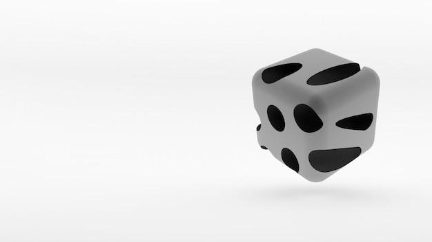 Cubo tridimensional gris Foto Premium