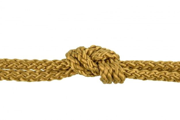 Cuerda de hilo o cuerda de yute con nudo aislado Foto Premium