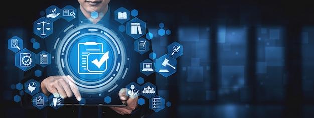 Cumplimiento norma ley y regulación interfaz gráfica para política de calidad empresarial Foto Premium