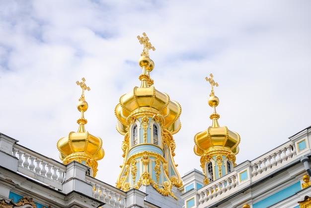 Cúpulas de tsarskoye selo en san petersburgo Foto Premium