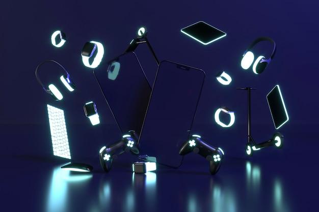 Cyber monday con luz de neón Foto gratis