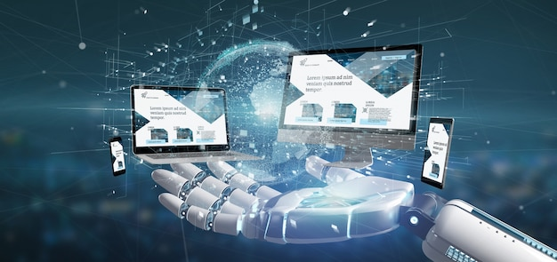 Cyborg mano sosteniendo un dispositivos conectados a una red global de negocios renderizado 3d Foto Premium