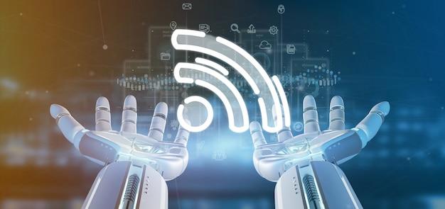 Cyborg mano sosteniendo un icono de wifi con datos alrededor Foto Premium
